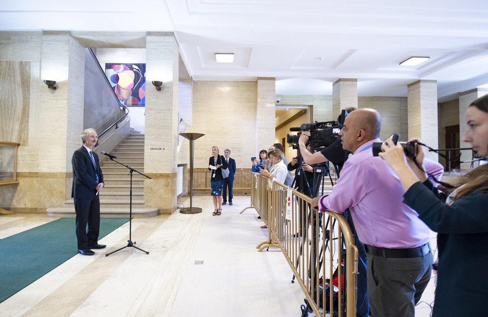 United Nations Special Envoy for Syria Geir O. Pederson briefs the press after the meeting of senior officials. 12 September 2019. UN Photo / Violaine Martin