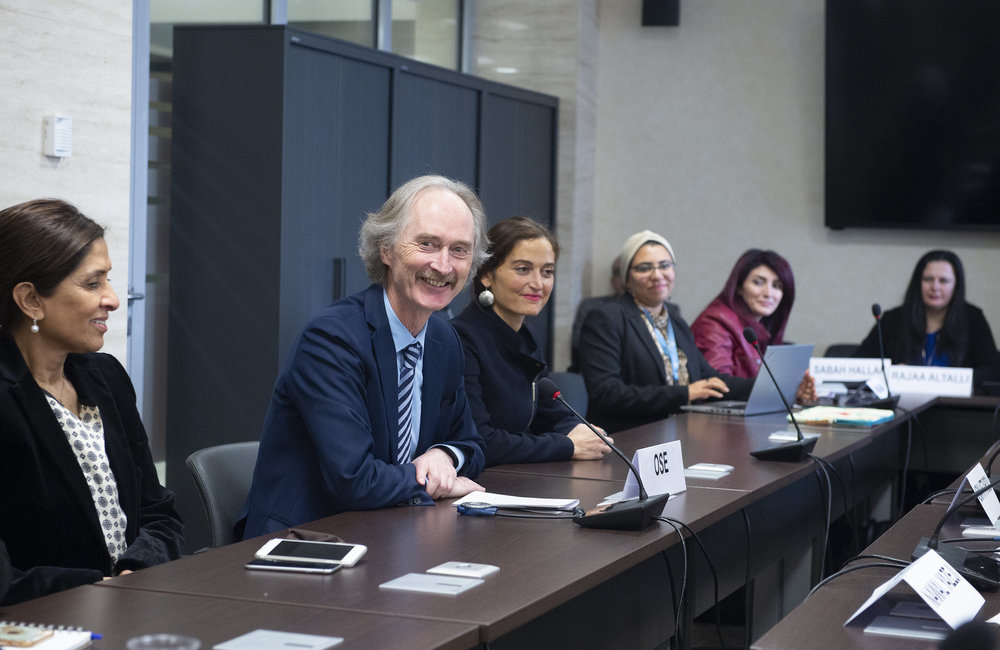 United Nations Special Envoy for Syria Geir O. Pedersen meets the Syrian Women's Adivisory Board prior to the meeting of the Syrian Constitutional Committee. Geneva, 28 October 2019. UN Photo / Violaine Martin