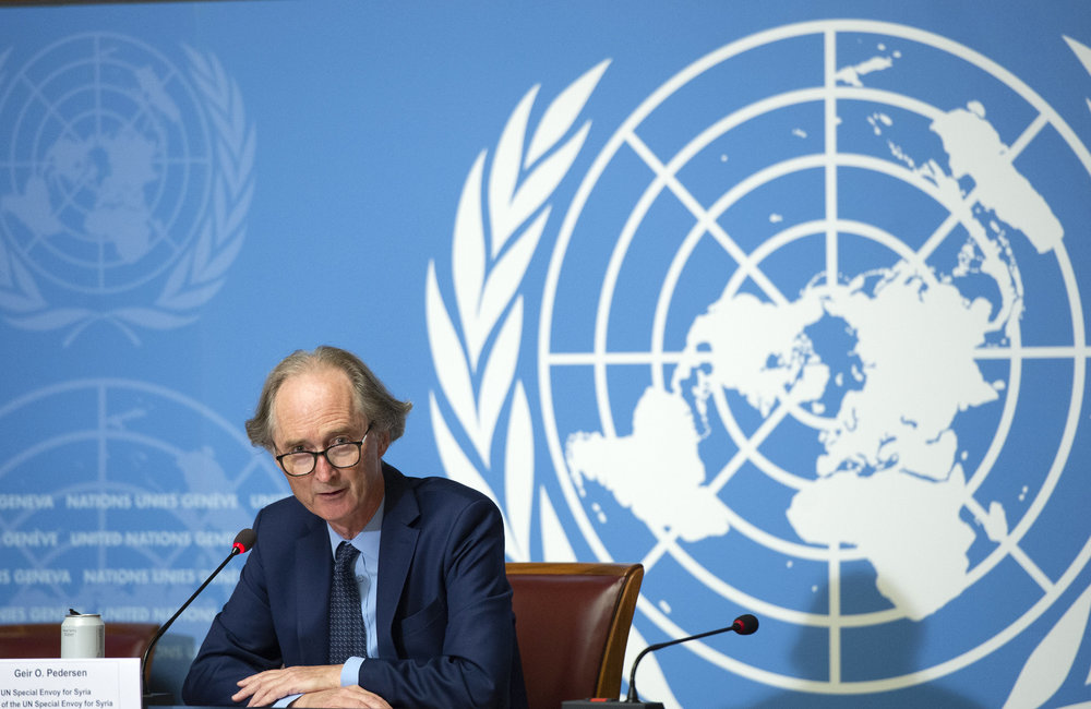 Geir O. Pedersen, United Nations Special Envoy for Syria briefs the press, Syrian Constitutional Committee, Geneva. 29 August 2020. UN Photo / Violaine Martin