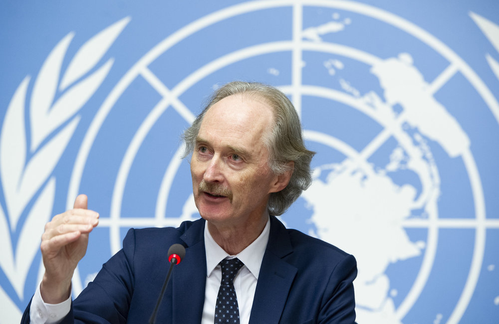 United Nations Special Envoy for Syria Geir O. Pedersen briefs the press after the first meeting of the Syrian Constitutional Committee. Geneva, 8 November 2019. UN Photo / Violaine Martin