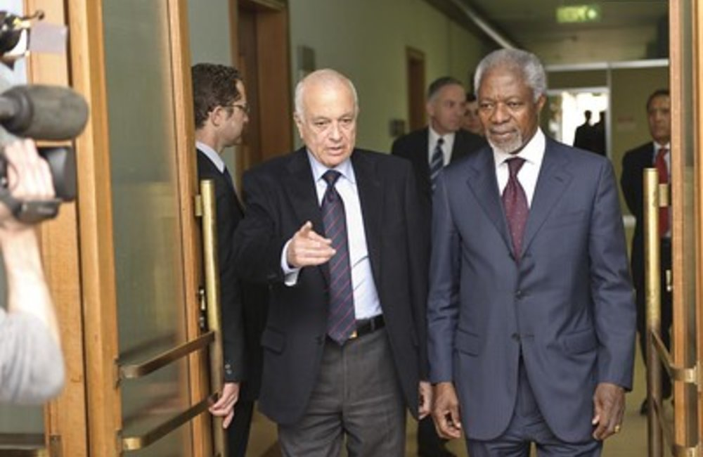 Joint UN/AL Special Envoy on Syria meets SG, League of Arab States Kofi Annan, Joint Special Envoy of the United Nations and the League of Arab States on the Syrian Crisis, meets with Nabil El Araby, Secretary General, League of Arab States, at UN Geneva. UN Photo / Fabrice Arlot