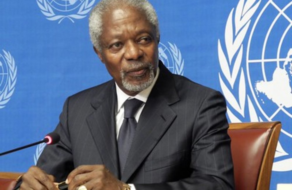Kofi Annan, Joint Special Envoy of the United Nations and the League of Arab States on the Syrian Crisis during the press conference. 2 August 2012. UN Photo / Yann Castanier
