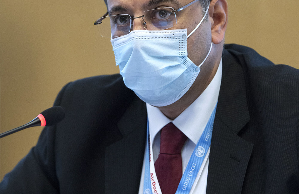 Ahmad kuzbari, Government Co-Chair attends the Syrian Constitutional Committee, Geneva. August 2020. UN Photo / Violaine Martin