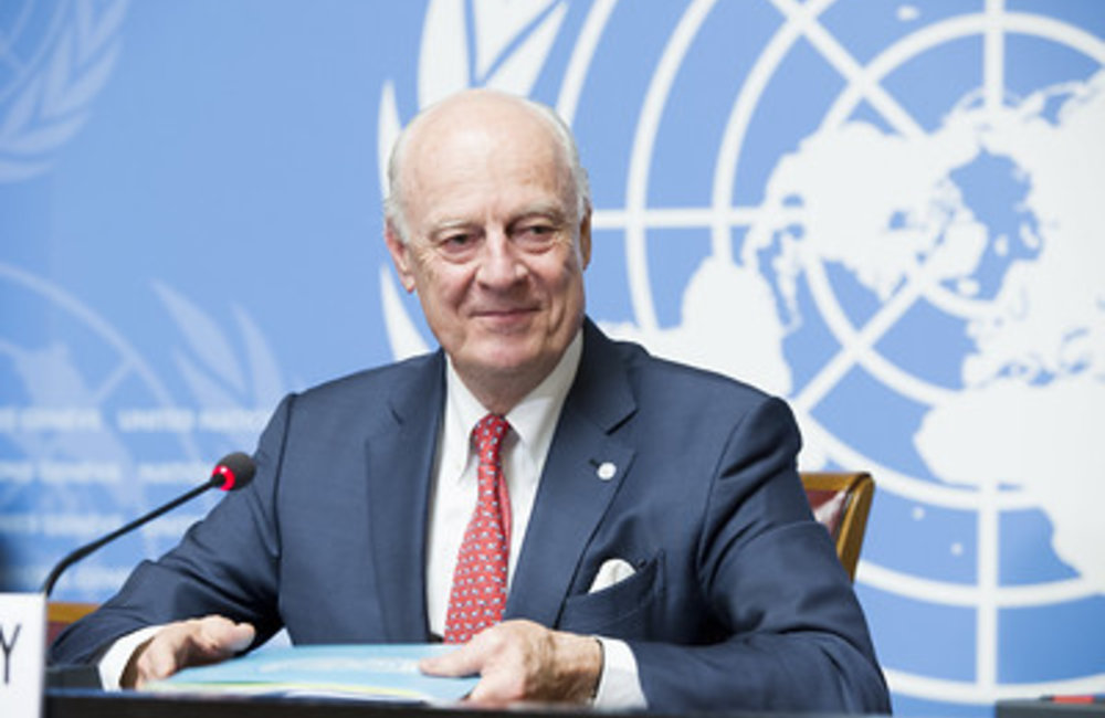 United Nations Special Envoy for Syria Staffan de Mistura briefs the press after the Joint Meeting on Syria, Palais des Nations. Geneva, 18 December 2018. UN Photo / Violaine Martin