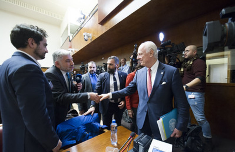 Joint Meeting on Syria United Nations Special Envoy for Syria Staffan de Mistura greets the press after the Joint Meeting on Syria, Palais des Nations, Geneva, 18 December 2018. UN Photo /  Violaine Martin