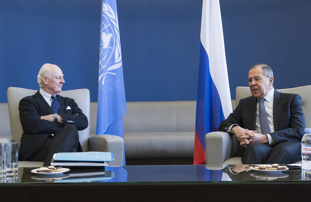 United Nations Special Envoy for Syria Staffan de Mistura attends a bilateral meeting with Sergey Lavrov, Minister for Foreign Affairs of the Russian Federation. Geneva, 28 February 2018. UN Photo / Violaine Martin
