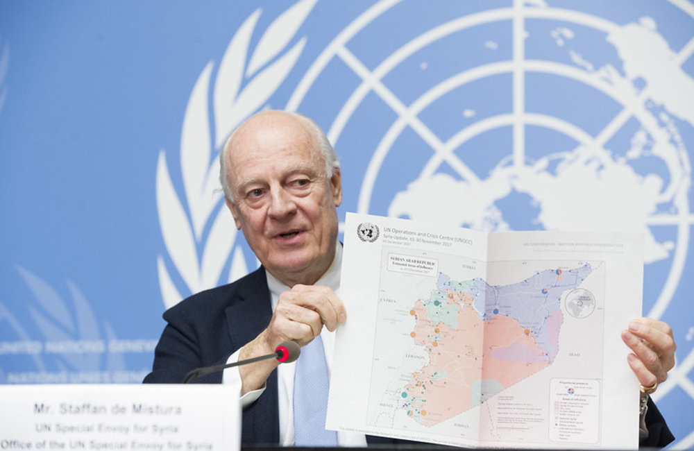 Staffan de Mistura, United Nations Special Envoy for Syria briefs the press on the last day of the 8th round of the Intra-Syrian talks. Geneva, 14 December 2017. UN Photo / Violaine Martin