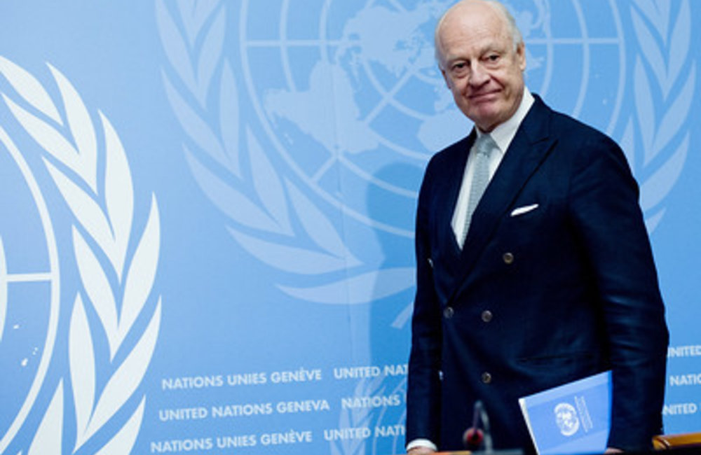 United Nations Special Envoy for Syria Staffan de Mistura speaks to the press on the Intra-Syrian Geneva Talks 2016. 25 January 2016. UN Photo / Jean-Marc Ferré