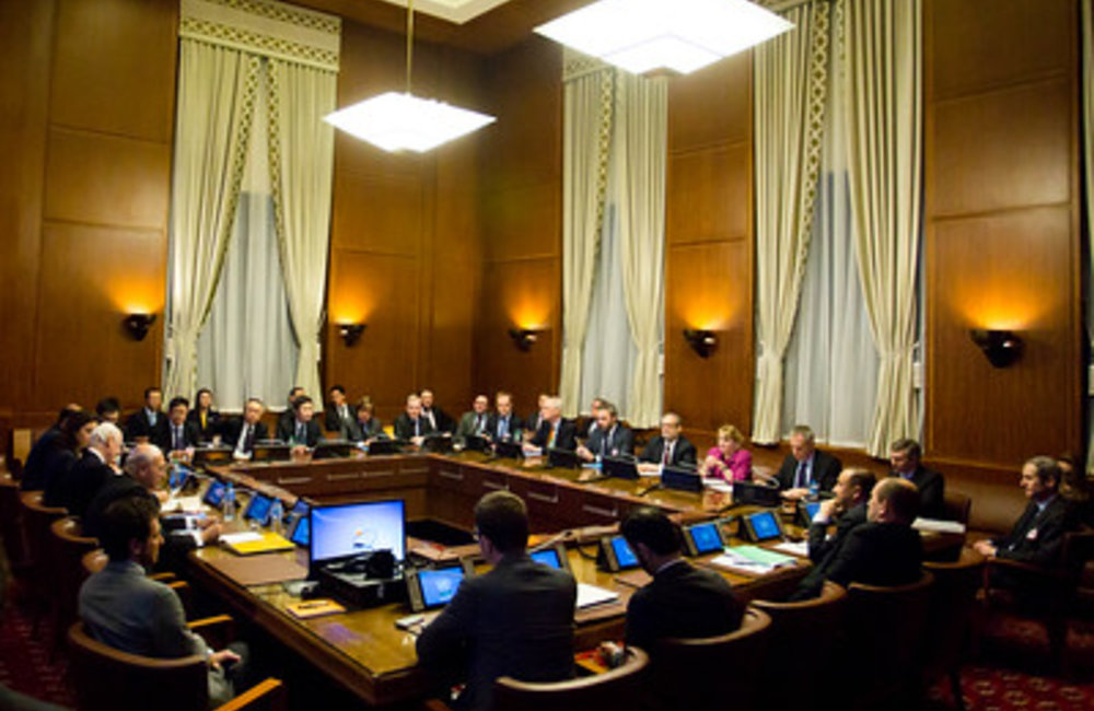 """Special Envoy of the Secretary-General for Syria Staffan de Mistura during the meeting with Representatives of the five Permanent Members of the Security Council (""""the P5"""") at the Ambassadorial level, at the Palais des Nations. Geneva,13 January 2015. UN Photo / Pierre Albouy"""