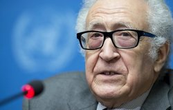 Lakhdar Brahimi, Joint Special Representative of the United Nations and the League of Arab States for Syria during a press conference after meeting the leaders of the Syrian government and the Syrian opposition. 24 January 2014. UN Photo / Jean-Marc Ferré